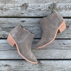 Joie Stacked Heel Suede Ankle Boots